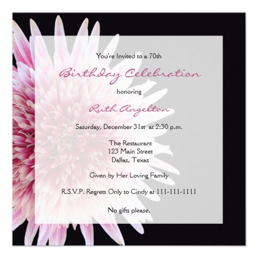 70th Birthday Party Invitation -- Gerbera Daisy