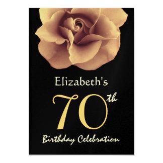 70th Birthday Party Invitation GOLD Roses Metallic