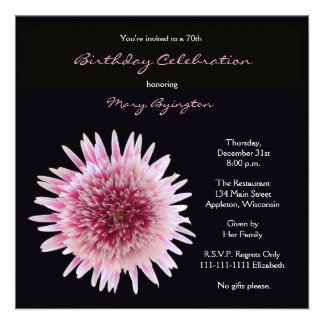 70th Birthday Party Invitation -- Gorgeous Gerbera