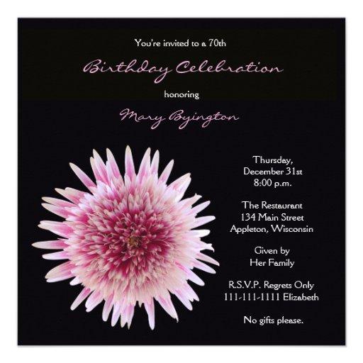 70th Birthday Party Invitation -- Gorgeous Gerbera