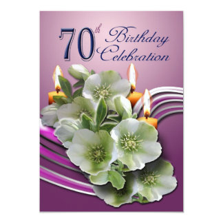 70th Birthday Party Invitation - Hellebores