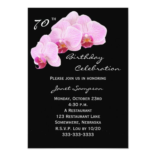 70th Birthday Party Invitation Orchids