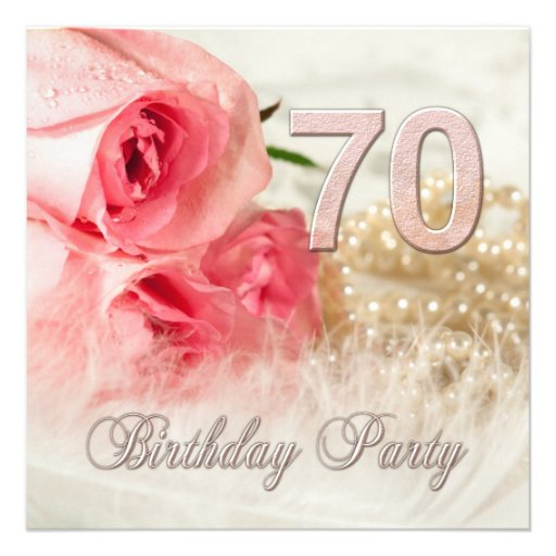 70th Birthday party invitation, roses and pearls