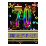 70th Birthday party Invitation with bubbles