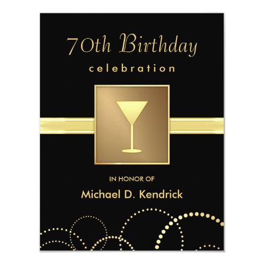 70th Birthday Party Invitations Formal Black Gold