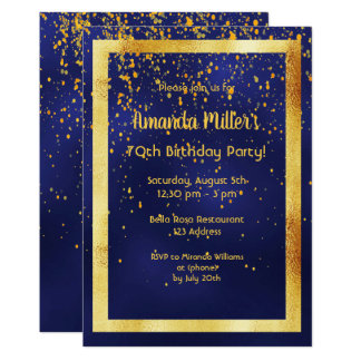 70th birthday party on midnight blue gold frame card