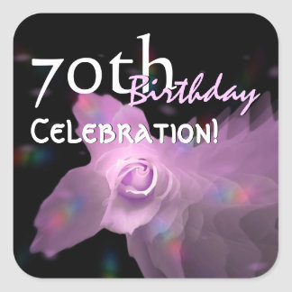 70th Birthday Party Pink Dancing Butterfly Rose Sticker