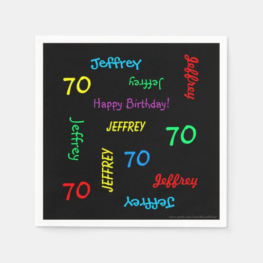 70th Birthday Party Repeating Names Black Paper Disposable