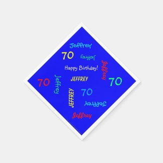 70th Birthday Party Repeating Names Blue Paper Napkin