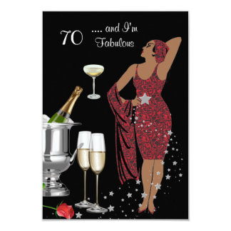 70th Birthday Party Retro Diva Art Deco Red 2 Card
