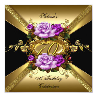 70th Birthday Party Roses Purple Gold Black 13 Cm X 13 Cm Square Invitation Card