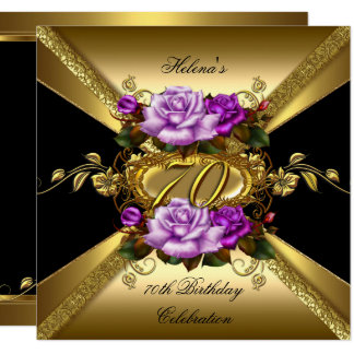 70th Birthday Party Roses Purple Gold Black Card