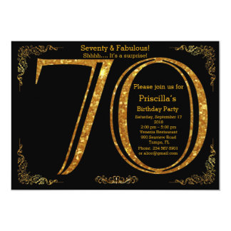 70th, Birthday party, Seventy, Gatsby, black gold 13 Cm X 18 Cm Invitation Card