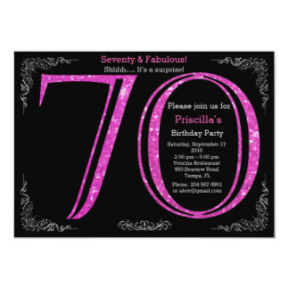 70th, Birthday party, Seventy, Gatsby,black silver 13 Cm X 18 Cm Invitation Card