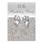 70th Birthday Party Silver Sequins, Bow & Diamond 13 Cm X 18 Cm Invitation Card