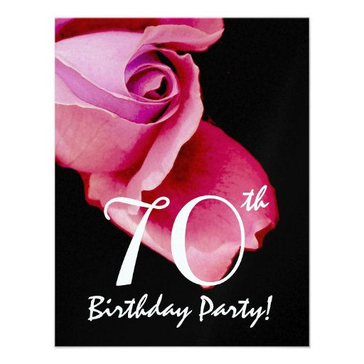 70th Birthday Party Template Pink Rose W421 Personalized Invitations