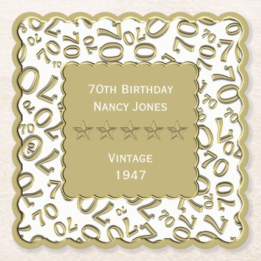 70th Birthday Party White and Gold Theme Paper Coaster