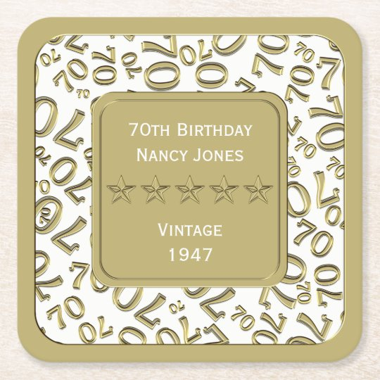 70th Birthday Party White and Gold Theme Square