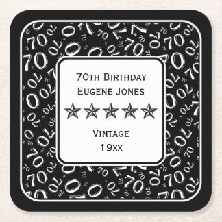 70th Birthday Party White/Black Pattern Theme Square Paper Coaster