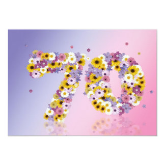 70th Birthday party, with flowered letters Card