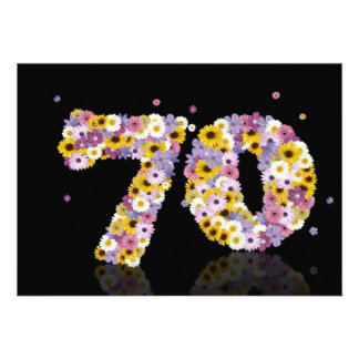 70th Birthday party with flowered letters Custom Invite