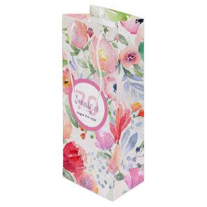 70th birthday pink flowers pastel bohemian style wine gift bag