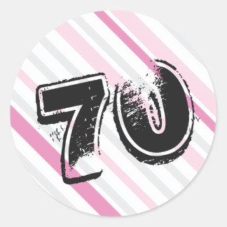 70th Birthday PINK Round Sticker