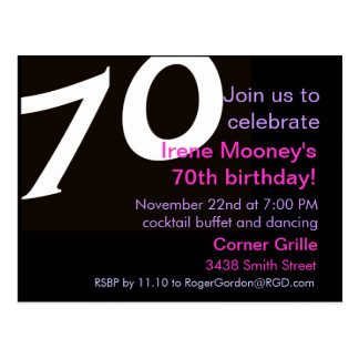 70th Birthday Postcard Invitation 70th Seventieth