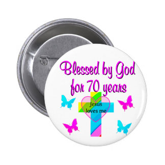70TH BIRTHDAY PRAYER 6 CM ROUND BADGE