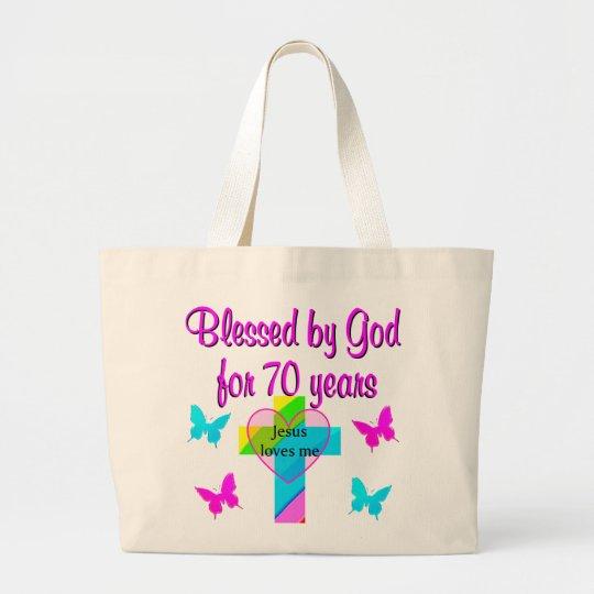 70TH BIRTHDAY PRAYER LARGE TOTE BAG