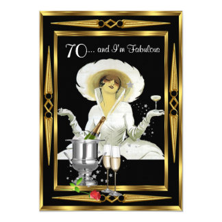 70th Birthday Retro Diva Art Deco Black Gold 13 Cm X 18 Cm Invitation Card