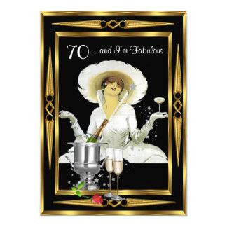 """70th Birthday Retro Diva Art Deco Black Gold 5"""" X 7"""" Invitation Card"""