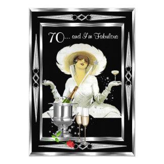 70th Birthday Retro Diva Art Deco Black Silver 13 Cm X 18 Cm Invitation Card