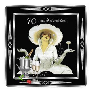 70th Birthday Retro Diva Art Deco Black Silver 2 Card