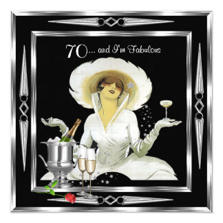 70th Birthday Retro Diva Art Deco Black Silver 2 Card