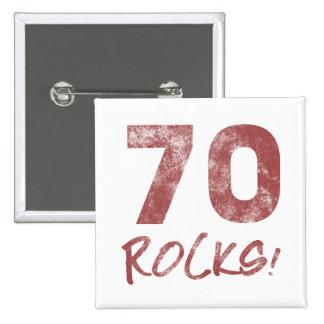 70th Birthday Rocks 15 Cm Square Badge