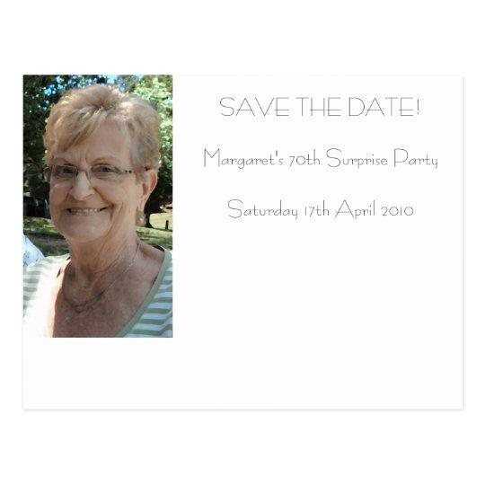 70th birthday save the date postcard