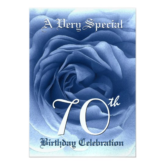 70th Birthday Soft Blue Rose Metallic Paper Card