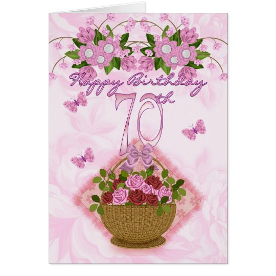 70th Birthday Special Lady, Roses And Flowers -