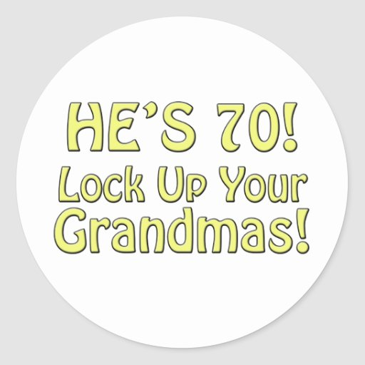 70th Birthday Round Sticker