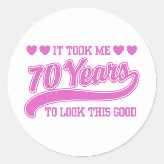 70th Birthday Round Stickers