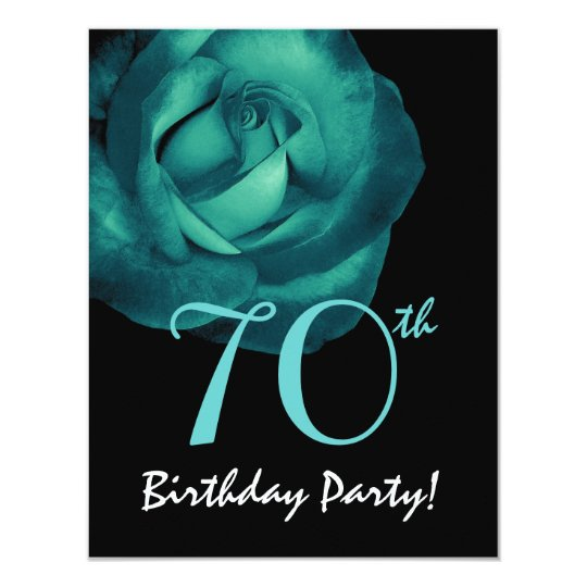 70th Birthday Template Aqua Blue Rose 001