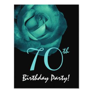 70th Birthday Template Aqua Blue Rose 001 11 Cm X 14 Cm Invitation Card