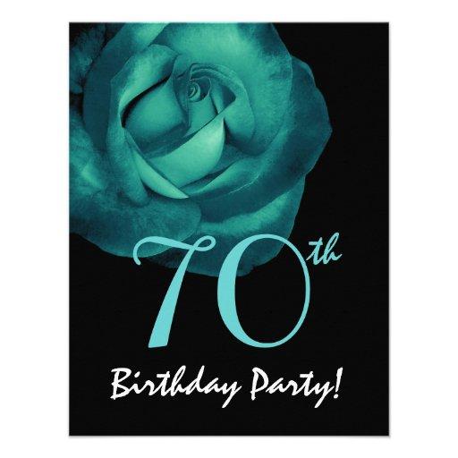 70th Birthday Template Aqua Blue Rose 001 Announcement