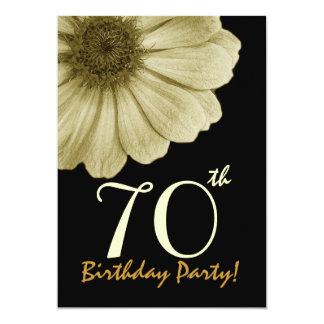 70th Birthday Template Gold and Cream Daisy 13 Cm X 18 Cm Invitation Card