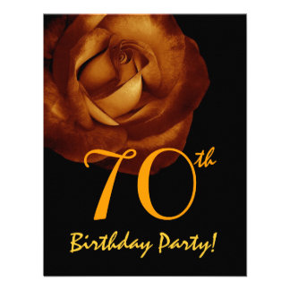 70th Birthday Template Gold Rose 001 Announcements