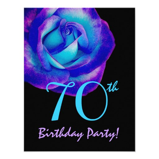 70th Birthday Template Purple and Blue Rose 002 Personalized Invitations