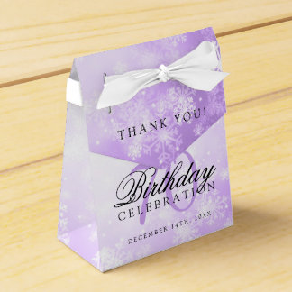 70th Birthday Thank You Purple Winter Wonderland Favour Box