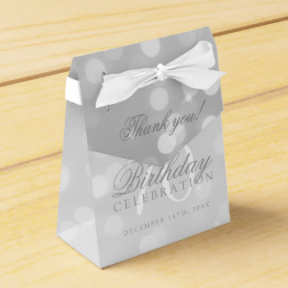 70th Birthday Thank You Silver Bokeh Sparkle Light Favour Box