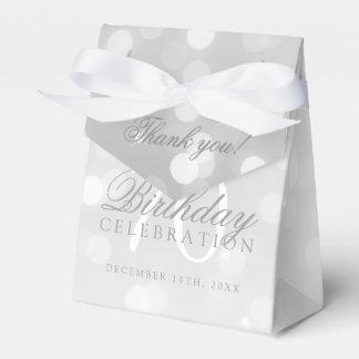 70th Birthday Thank You Silver Bokeh Sparkle Light Favour Boxes